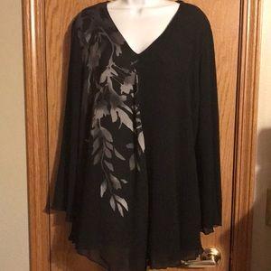 Alfani plus size 18 black shirt w/floral print NWT